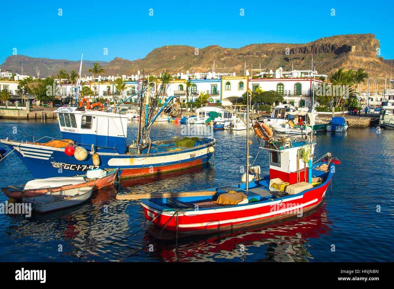 Hafen von Puerto de Mogan, Gran Canaria, Spanien Stockbild