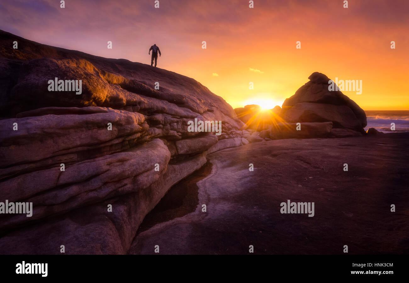 Selbstportrait in einem verrückten goldenen Sonnenuntergang in Western Australia Stockbild