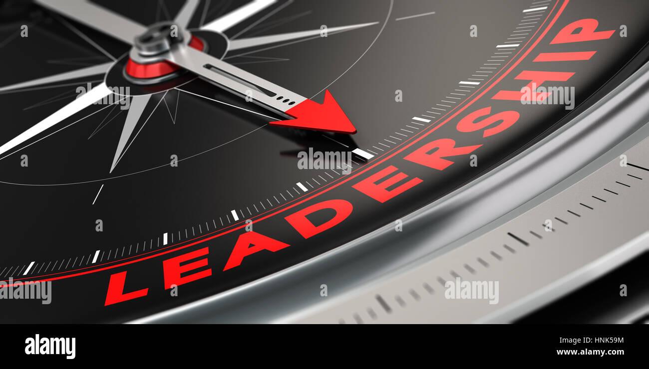3D-Darstellung eines Kompass mit Nadel nach dem Wort Führung über schwarzen Hintergrund. Konzept der Überlegenheit. Stockfoto