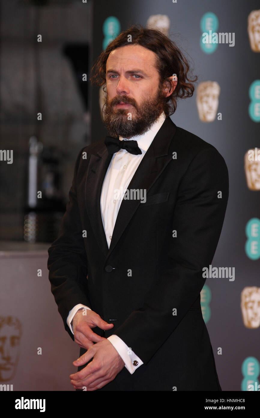 LONDON - 12. Februar 2017: Casey Affleck besucht die EE British Academy Film Awards (BAFTA) in der Royal Albert Stockbild