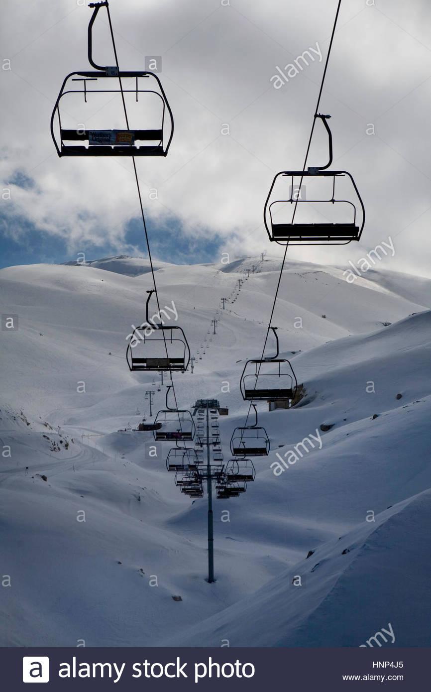 Die reichen libanesischen Partei Szene und Ski Resort von Faraya in der Nähe von Beirut. Stockbild