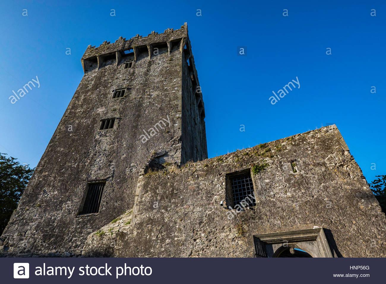 Blarney Stone, einen Block aus Karbon Kalkstein gebaut in der Festungsmauer des Blarney Castle, Blarney, Irland. Stockbild
