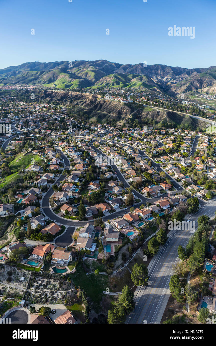 Luftbild von Porter Ranch Häuser und Straßen in der Umgebung von ...