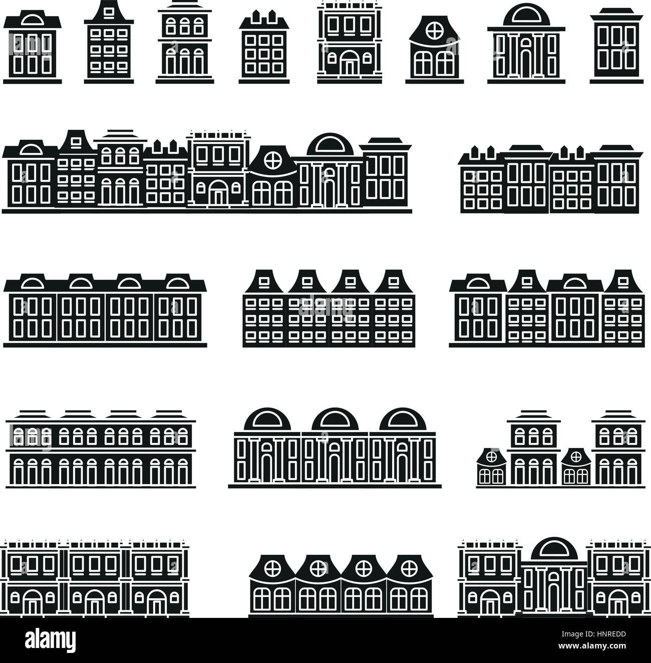 Construction icons set in flat stockfotos construction icons set in flat bilder alamy - Architektonische hauser ...