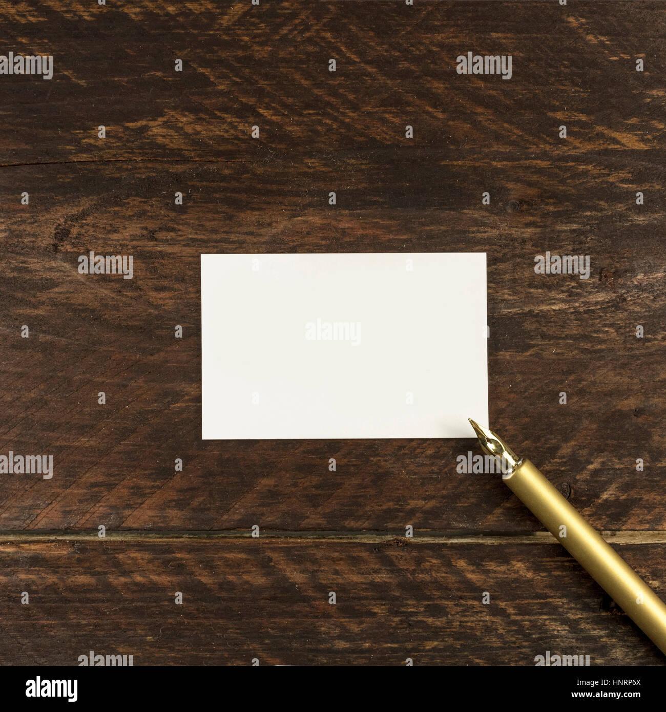 Dicke Pappe Visitenkarte Mit Kugelschreiber Und Exemplar