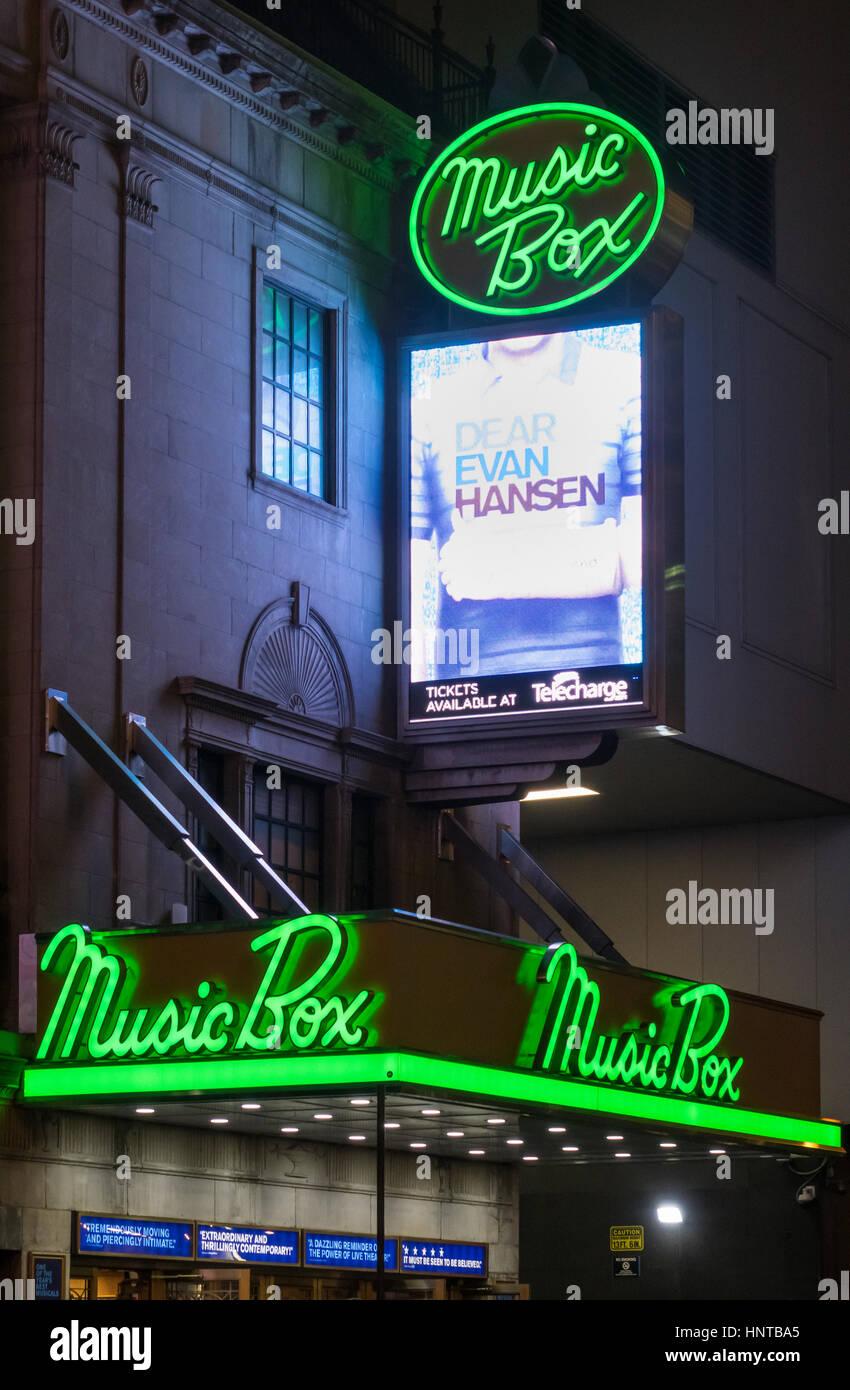Liebe Evan hunsen, ein Musical in der Music box Theatre Stockbild