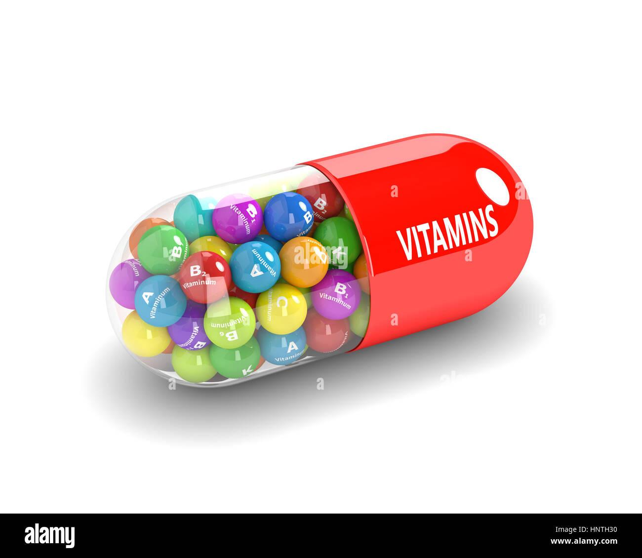 3D-Rendering des Vitamin-Pille mit Granulat auf weißem Hintergrund Stockbild