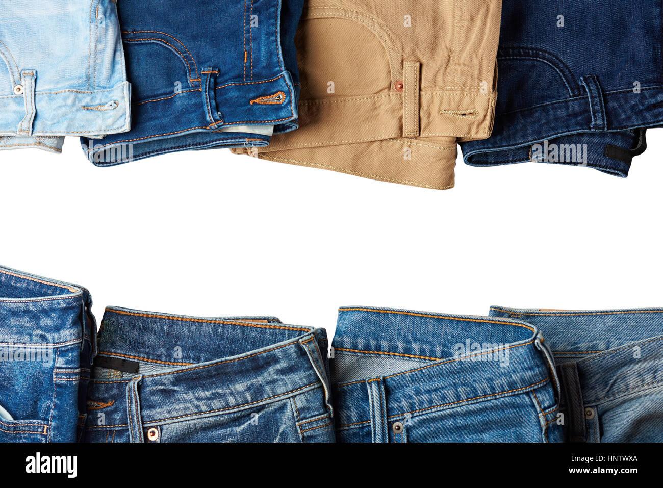 Jeans-Rahmen mit textfreiraum weißen isoliert. Grenze von Blue jeans ...
