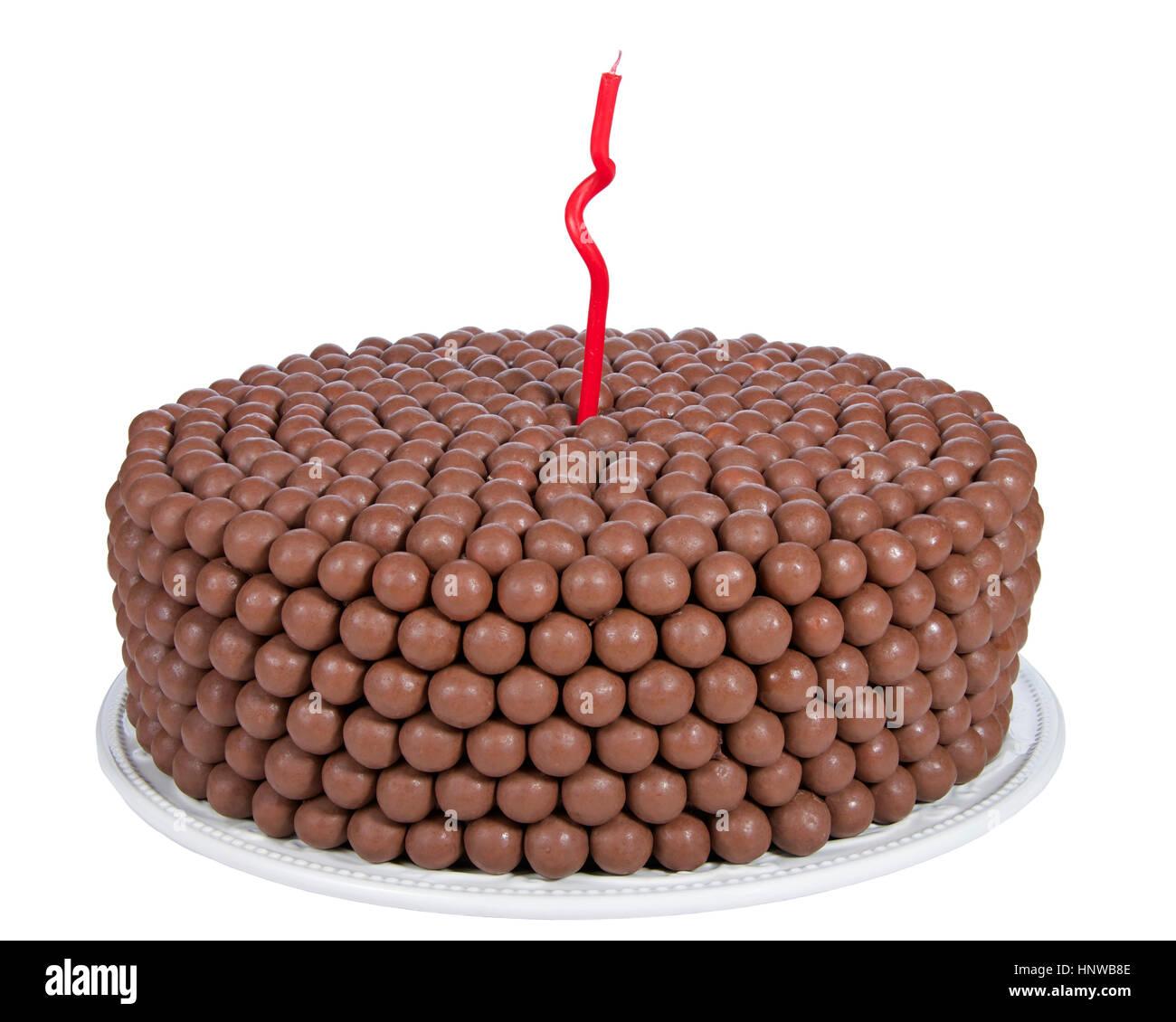 Schokolade Kuchen Mit Sussigkeiten Malz Kugeln Und Einem Roten