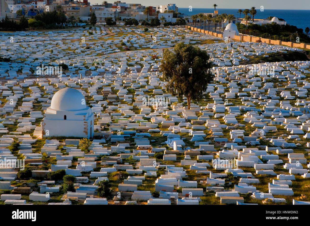 Tunez: Monastir.Cemetary Sidi el Mazeri Stockbild