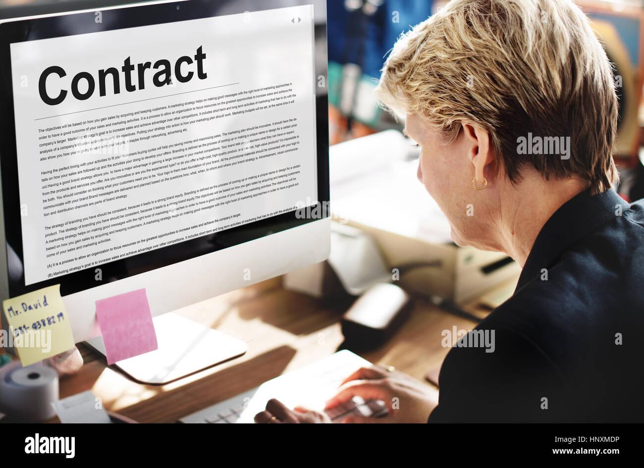 Vertrag Vereinbarung Engagement Verpflichtung Verhandlung Konzept Stockfoto