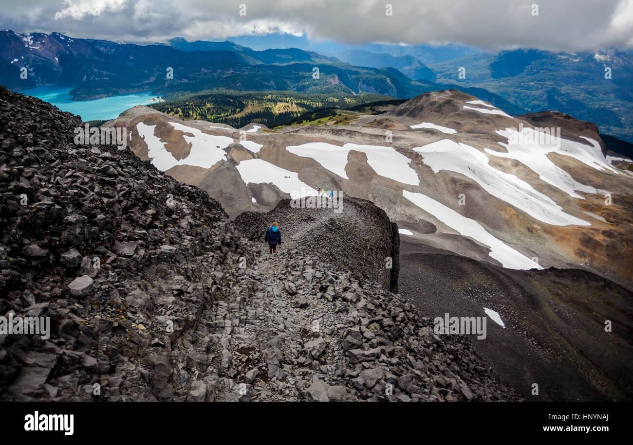 Aussicht vom Gipfel des Black Tusk, Garibaldi Provincial Park, Britisch-Kolumbien Stockbild