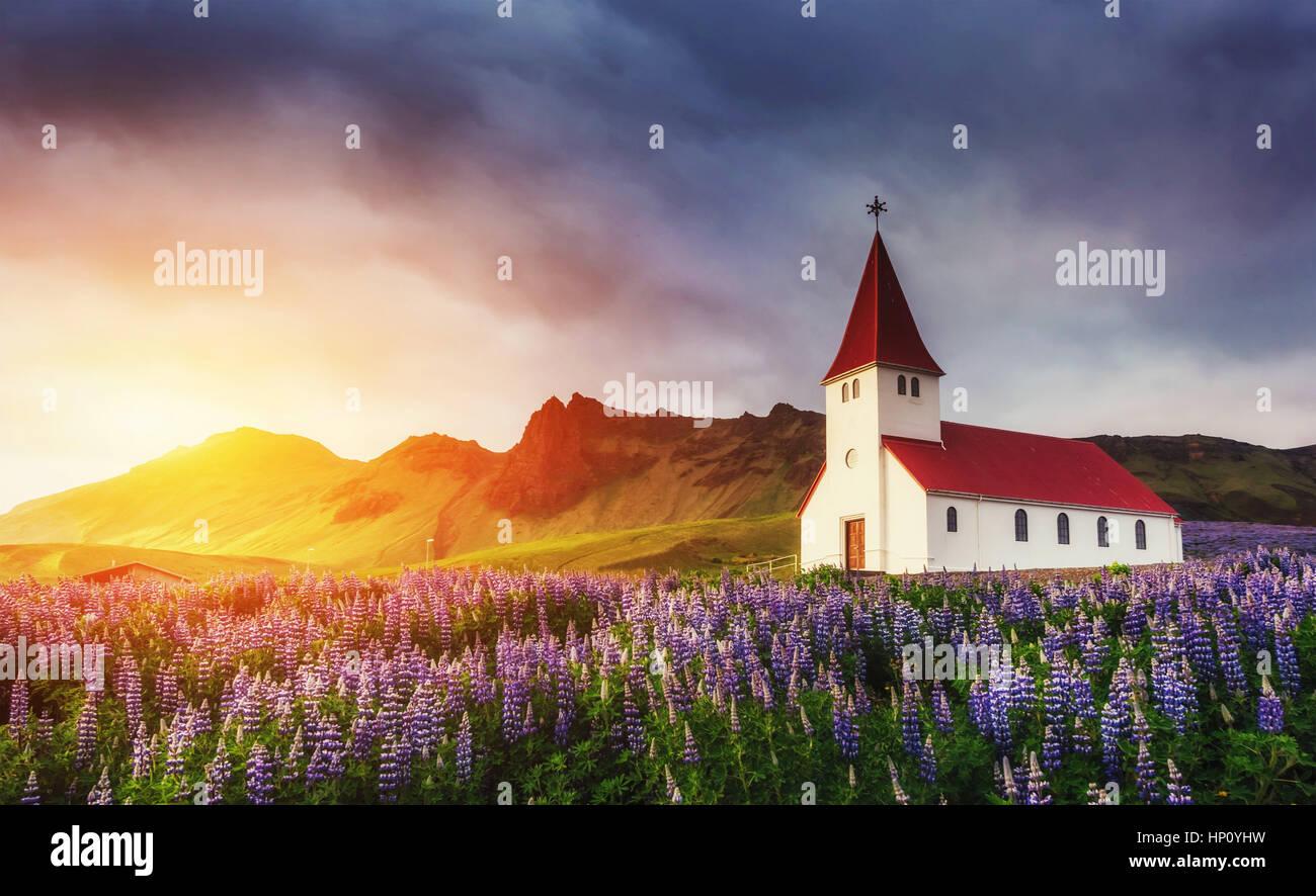 Die evangelische Kirche in Vik. Die malerischen Landschaften der Wälder ein Stockbild