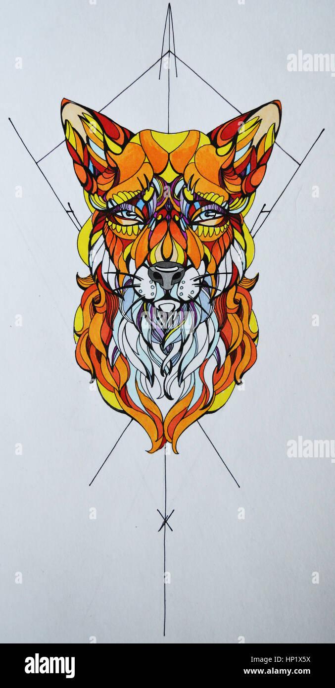 Grafik, Zeichnung eines Fuchses im Stil einer Tätowierung Stockbild