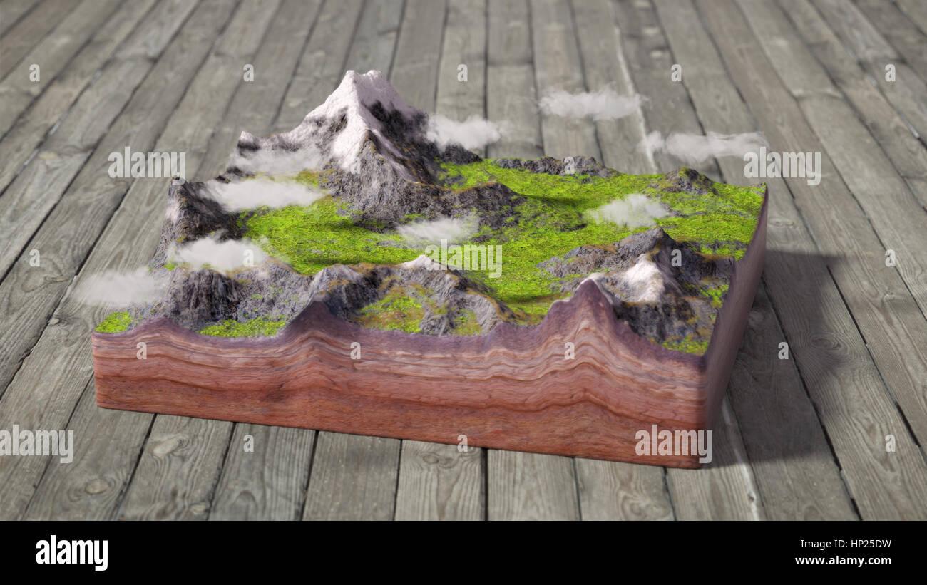 3d Fußboden Wolken ~ Modell der querschnitt des bodens mit bergen wiesen und wolken