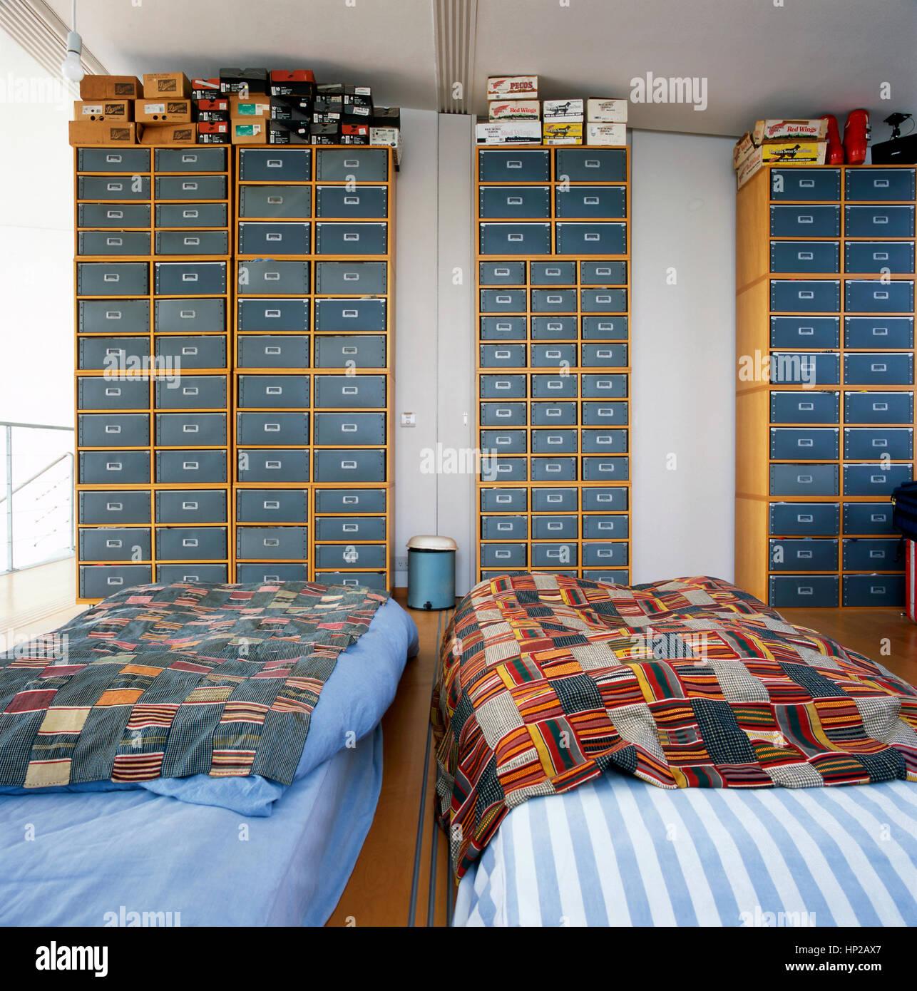 Zeitgenossische Japanische Innenraum Aus Einem Schlafzimmer Mit Zwei