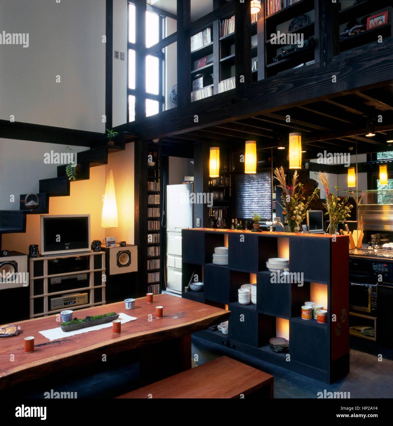 Wohnzimmer Open Space In Einem Japanischen Haus In Tokio Japan