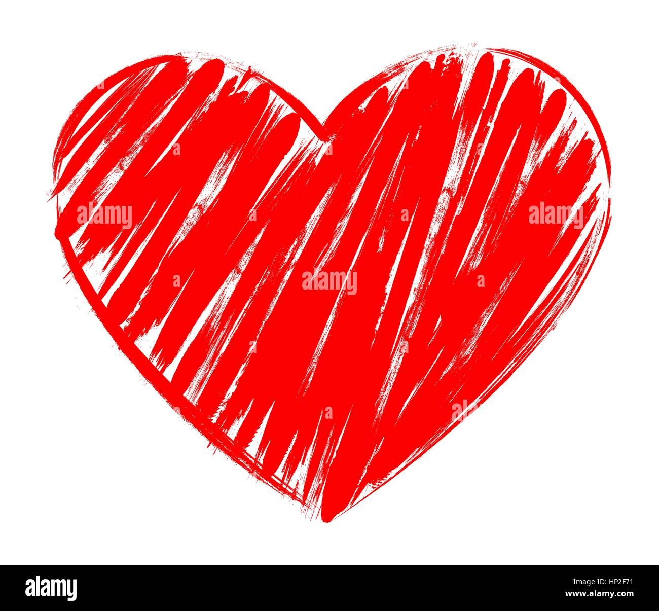 Vektor Herzen Formrahmen mit Pinsel Malerei isoliert auf weißem ...