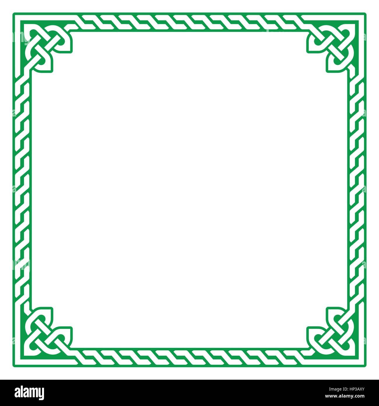 Keltischen grüner Rahmen, Grenze Muster - Vektor. Irisch, keltisch ...