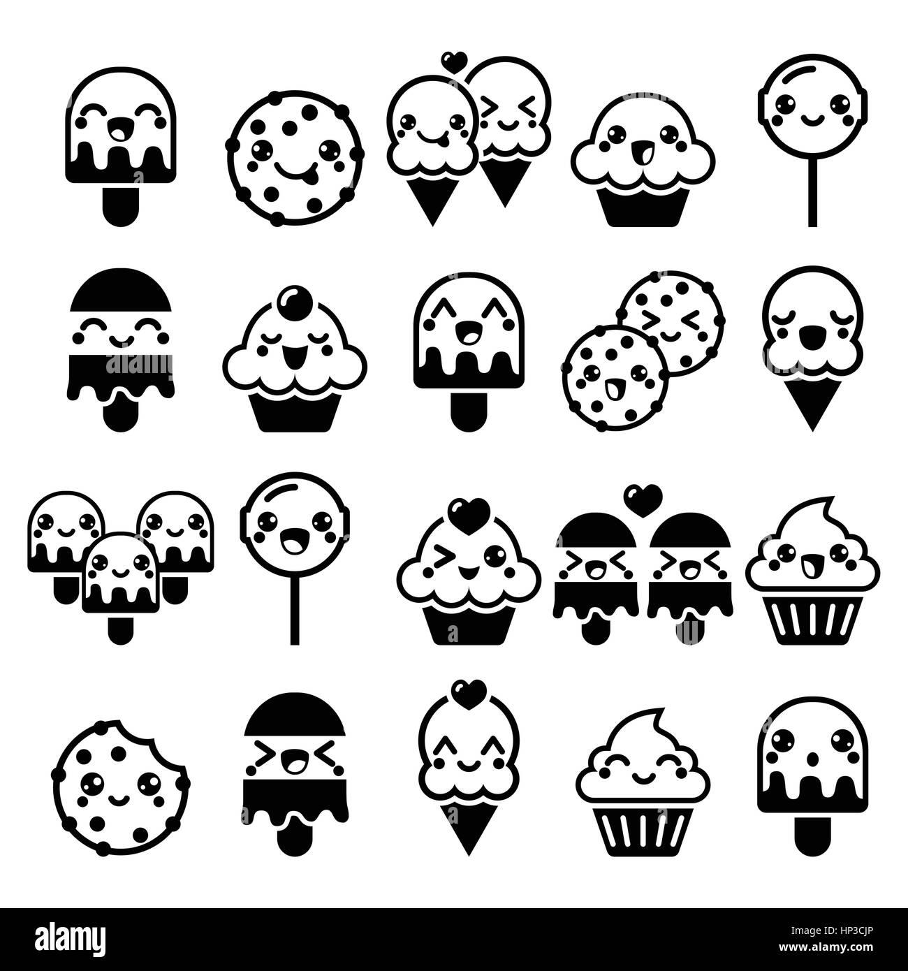 Cute Kawaii Essen Zeichen - Kuchen, Eis, Cookie, Lutscher Symbole ...