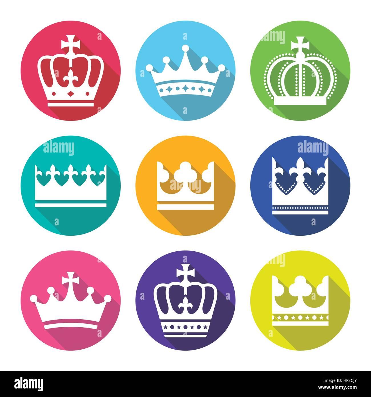 Krone, set königlichen Familie flache Design-Ikonen. König, Königin Krone Vektor-modernes flaches Design Icons Set Stock Vektor