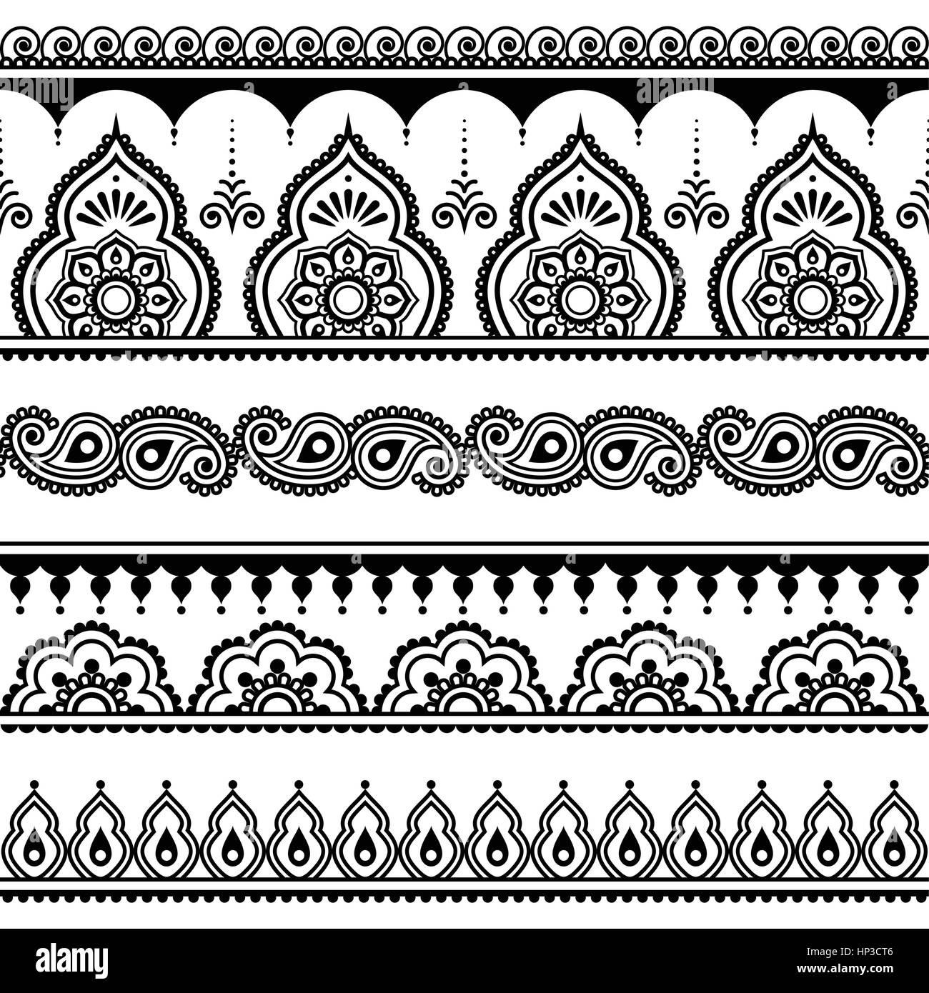 mehndi indische henna tattoo nahtloses muster design. Black Bedroom Furniture Sets. Home Design Ideas