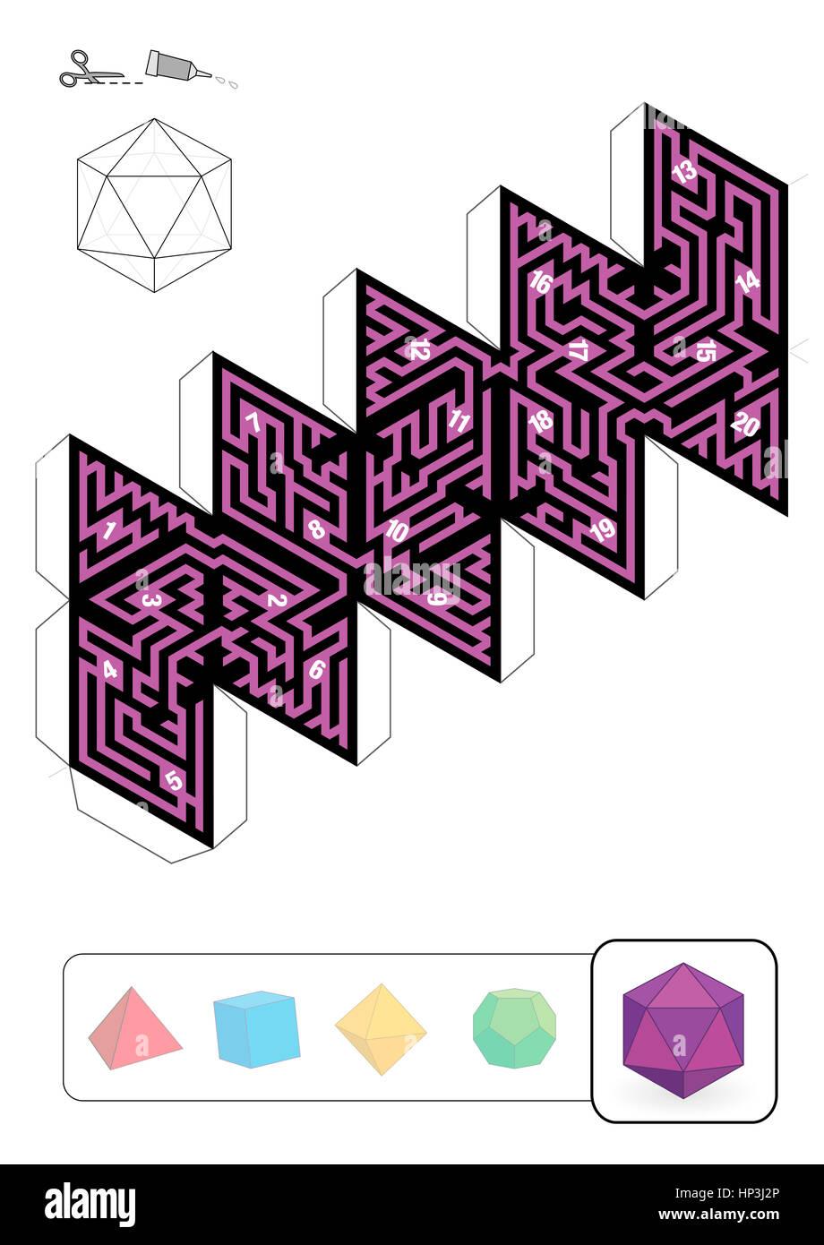 Ikosaeder Labyrinth - Vorlage von einer der fünf platonischen solide ...