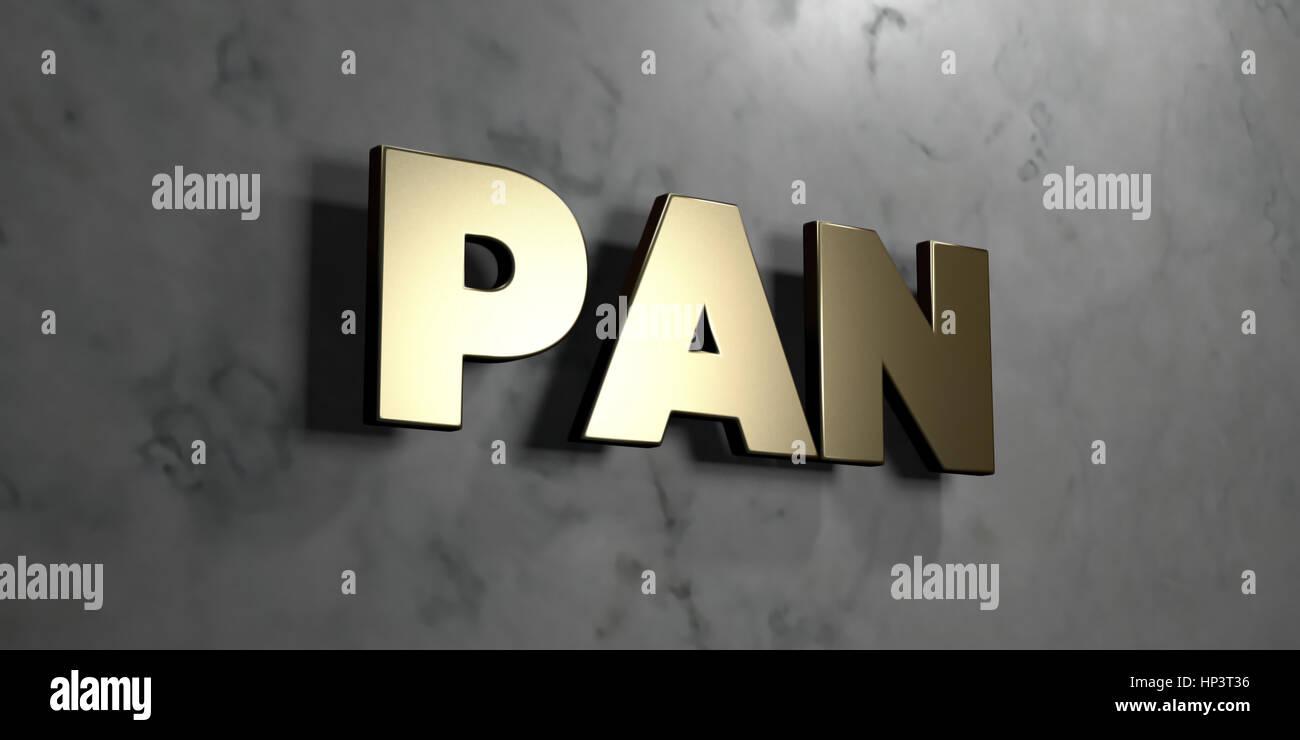 Pan gold zeichen an glänzenden marmor wand montiert 3d