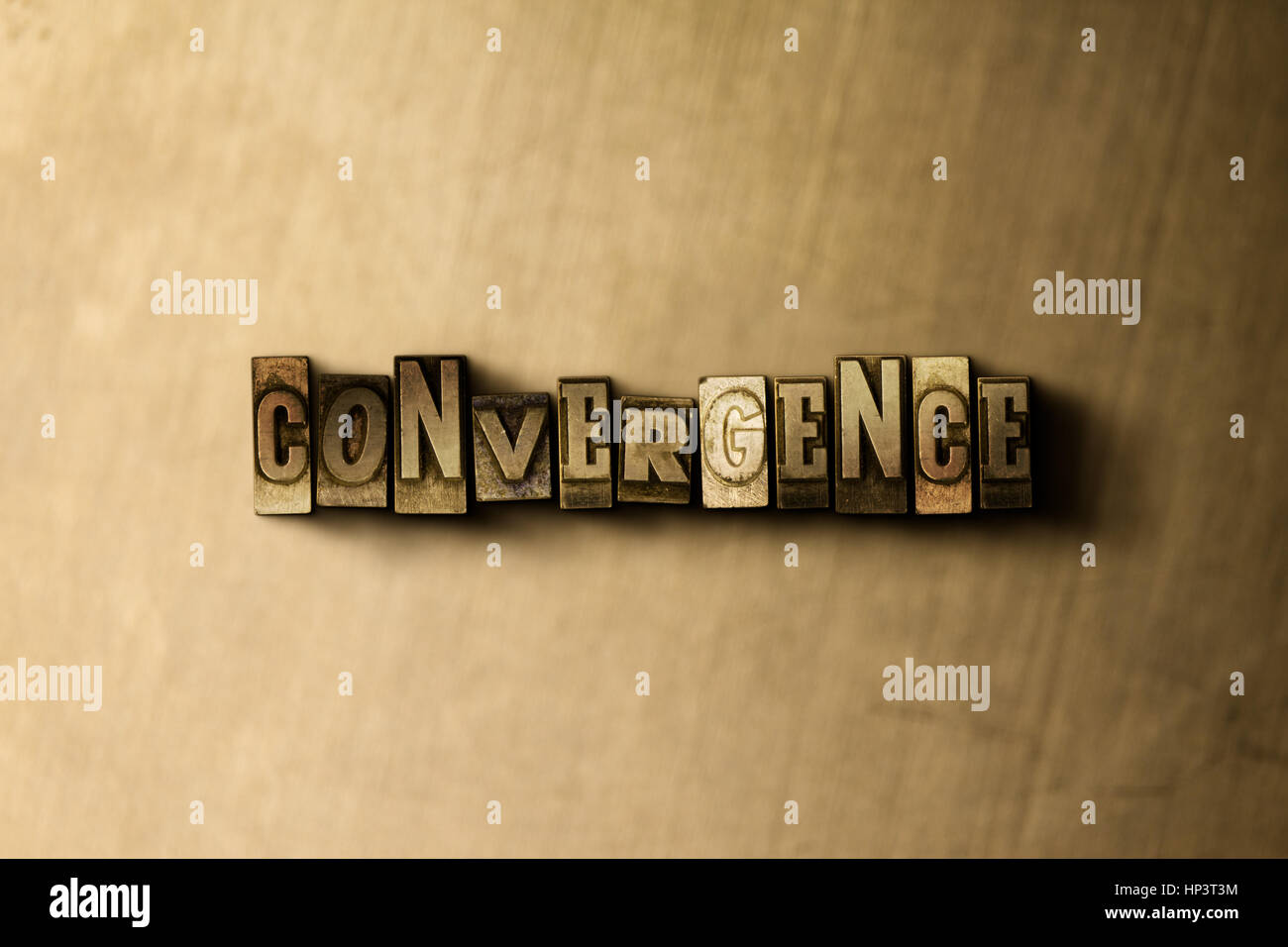 Konvergenz - Schriftsatz Nahaufnahme von Grunge Vintage Wort auf Metall Hintergrund. GEMA freie stock Illustration. Stockbild