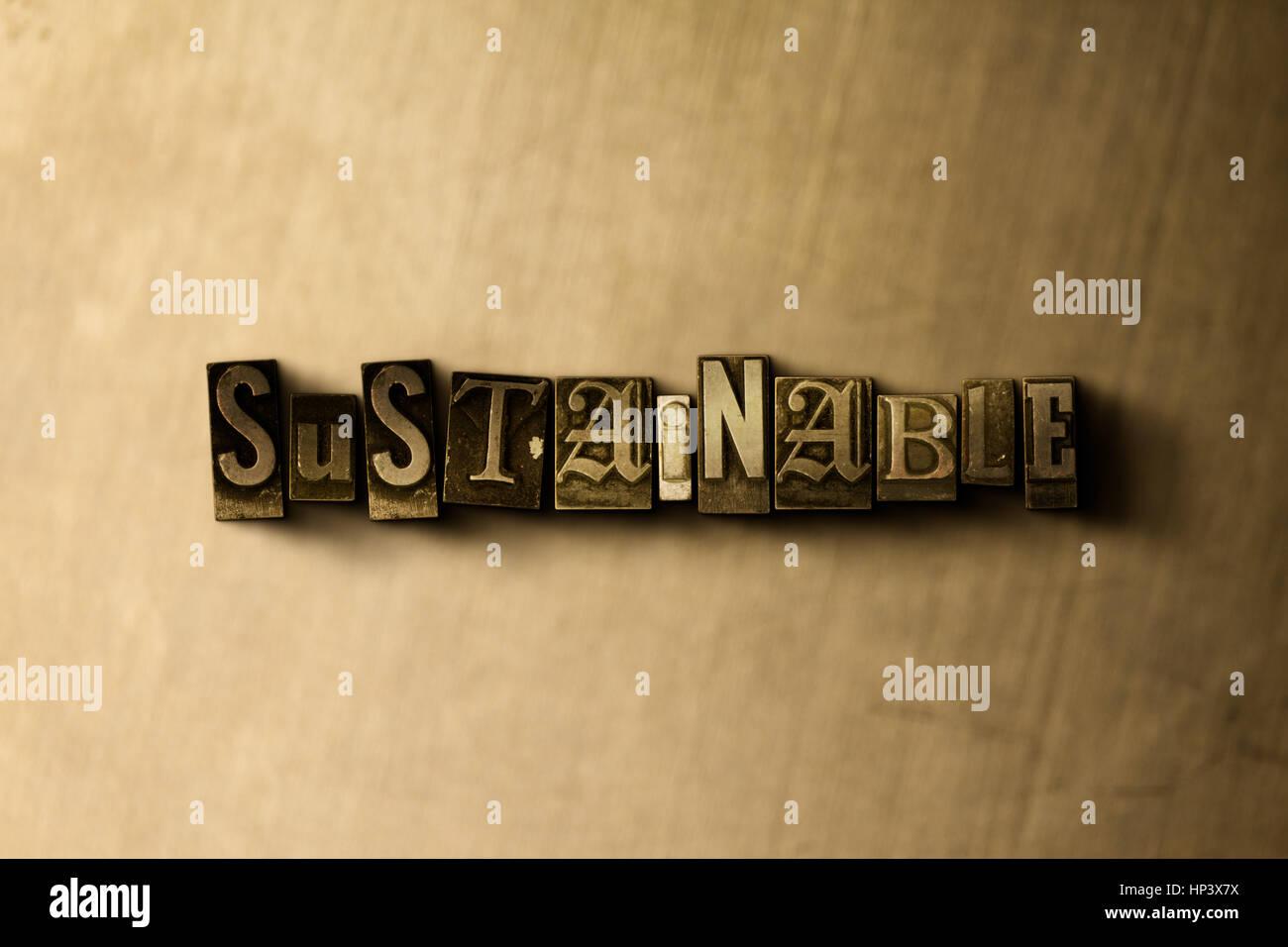 NACHHALTIG - Nahaufnahme von Grunge Vintage Schriftsatz Wort auf Metall Hintergrund. GEMA freie stock Illustration. Stockbild