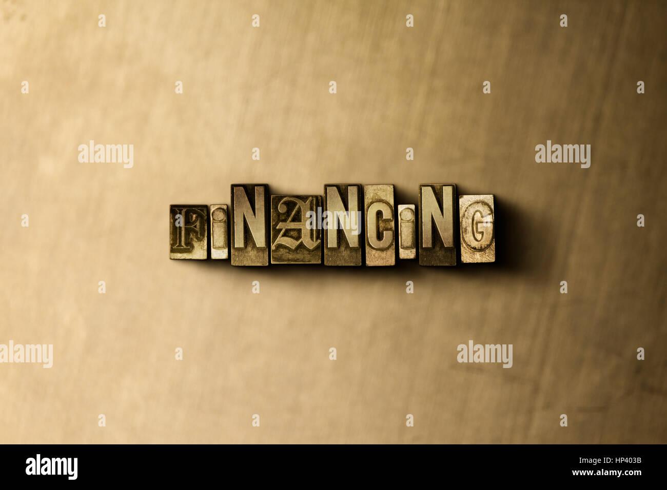 Finanzierung - Nahaufnahme des Grunge Vintage Schriftsatz Wort auf Metall Hintergrund. GEMA freie stock Illustration. Stockbild