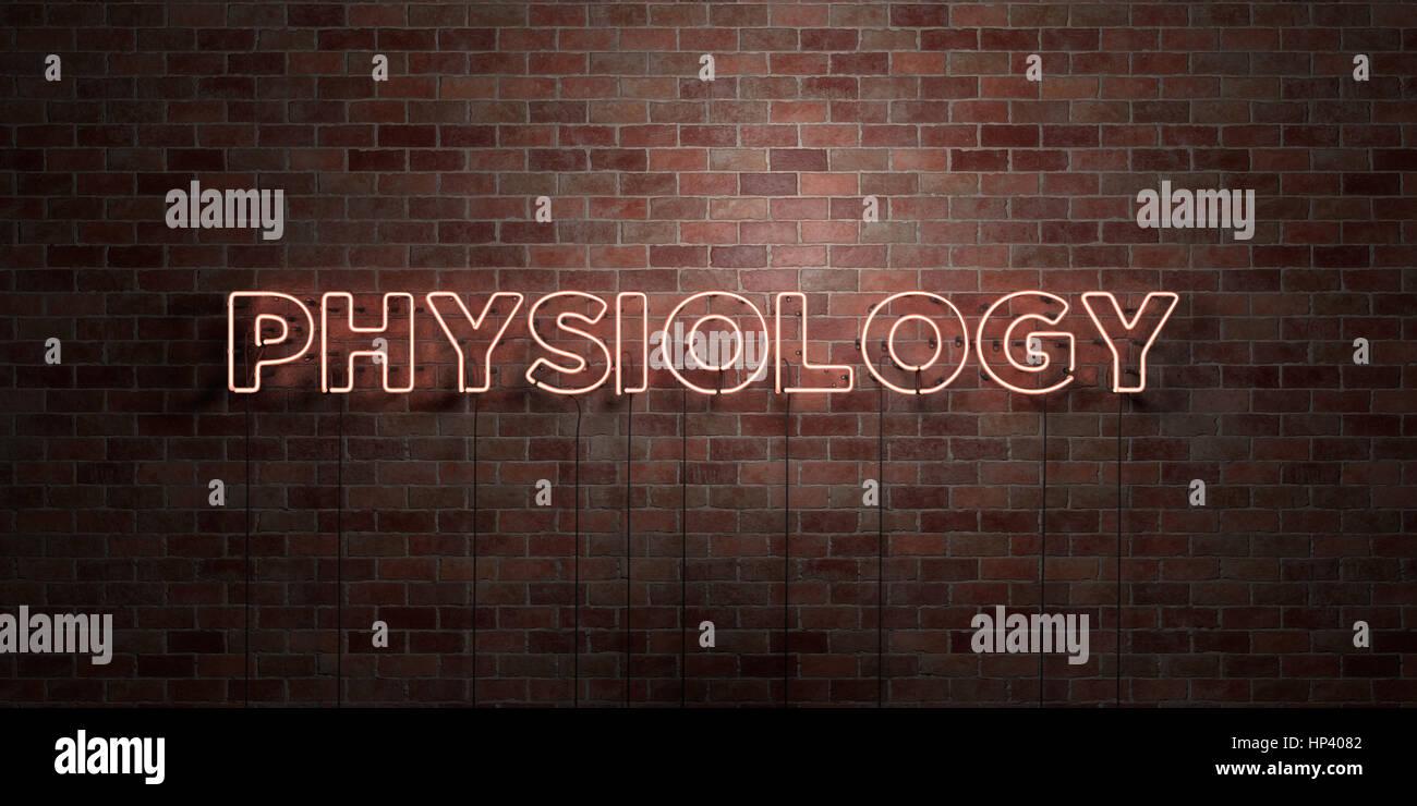 Physiologie - fluoreszierende Neon tube Zeichen auf Mauerwerk - Vorderansicht - 3D gerenderten Lizenzgebühren Stockbild
