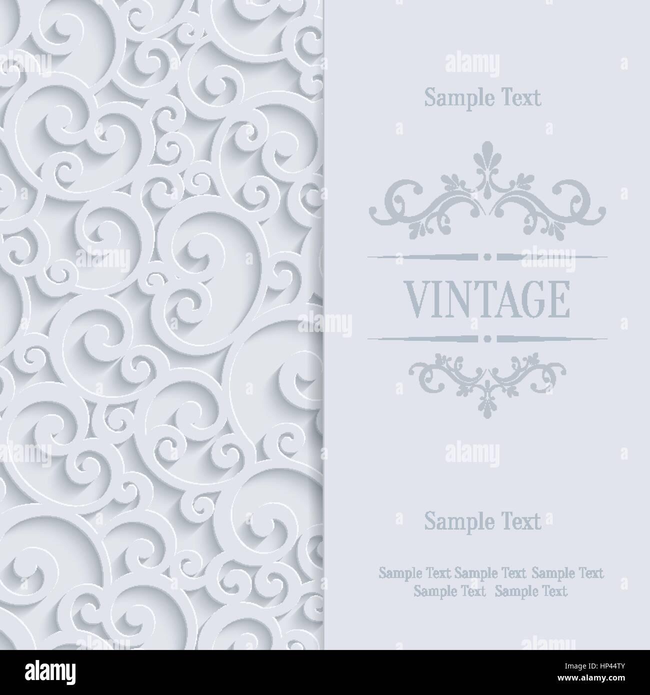 Floral wirbel hintergrund mit 3d curl damast muster für hochzeit oder einladung kardinal vektor weiß vintage design