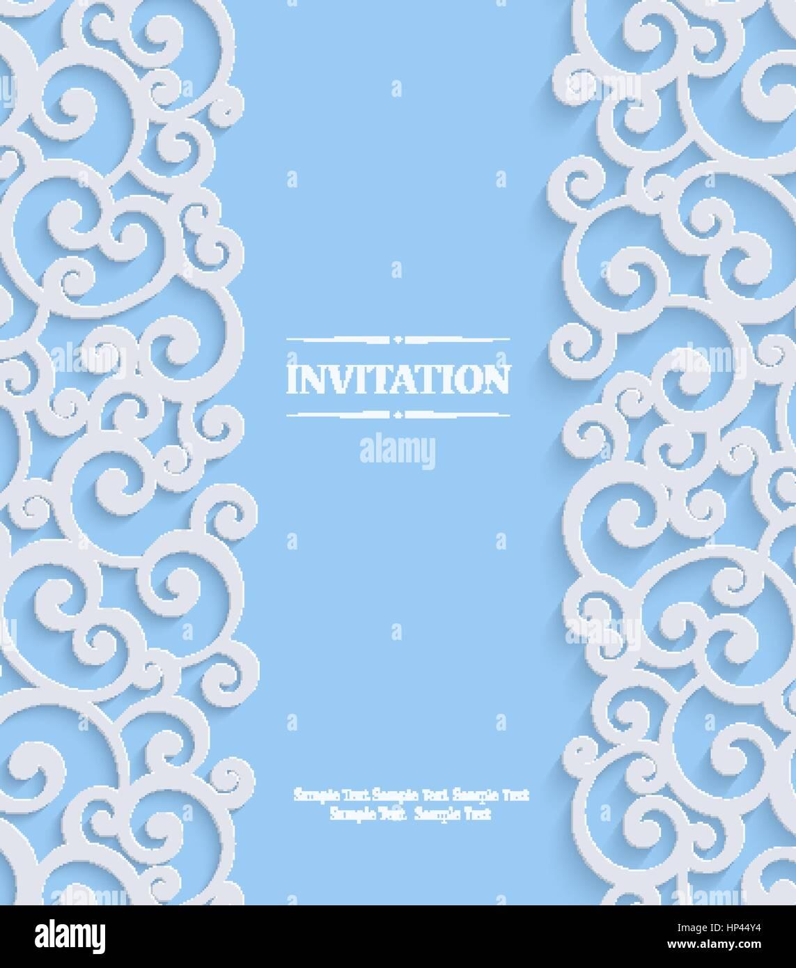 Blau 3d Wirbel Hochzeit Oder Einladungskarte Mit Floralen Curl Muster,  Weihnachten Vektor Vorlagenhintergrund