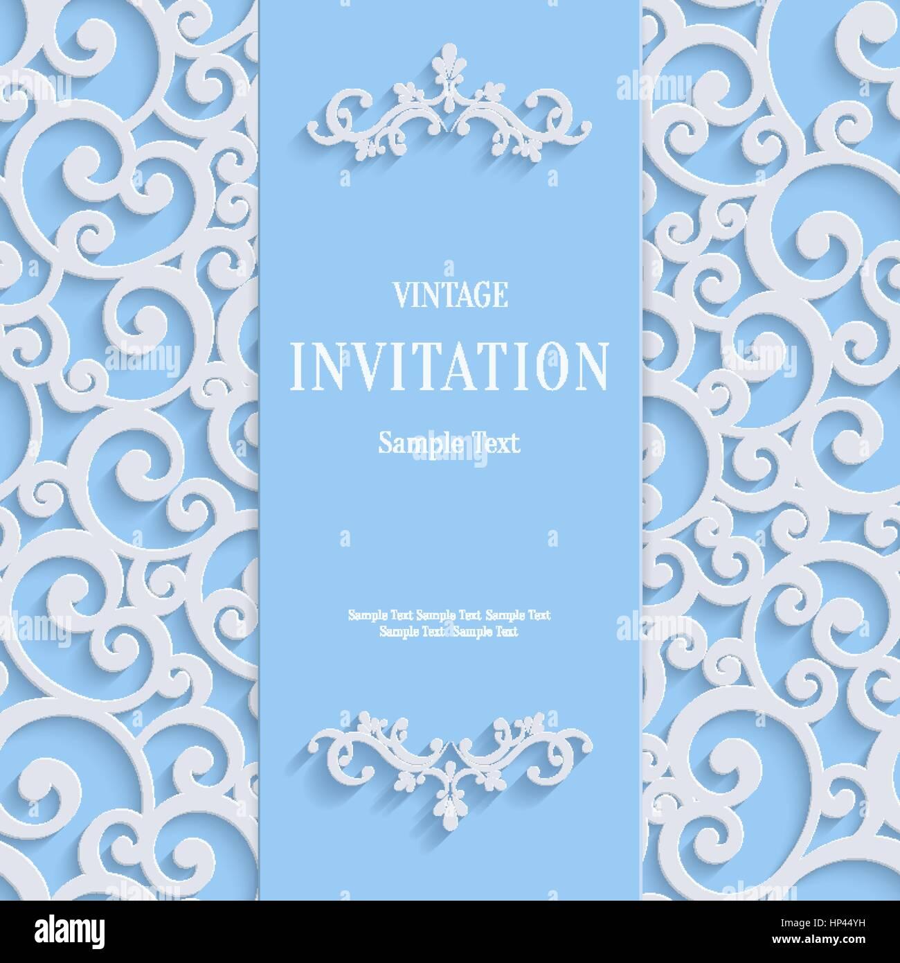 Blaue 3d Floralen Curl Hintergrund Mit Wirbel Damast Muster Für Weihnachten  Oder Hochzeit Oder Einladung Kardinal Vector Vintage Design Vorlage