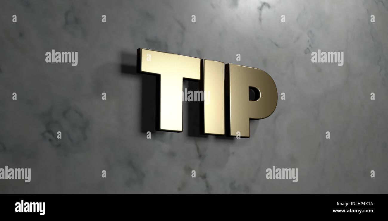 Tipp gold zeichen an glänzenden marmor wand 3d gerenderten