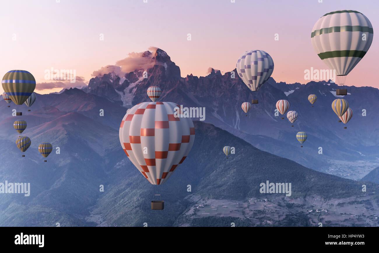 Bunte Heißluftballons fliegen über den Berg. Stockbild