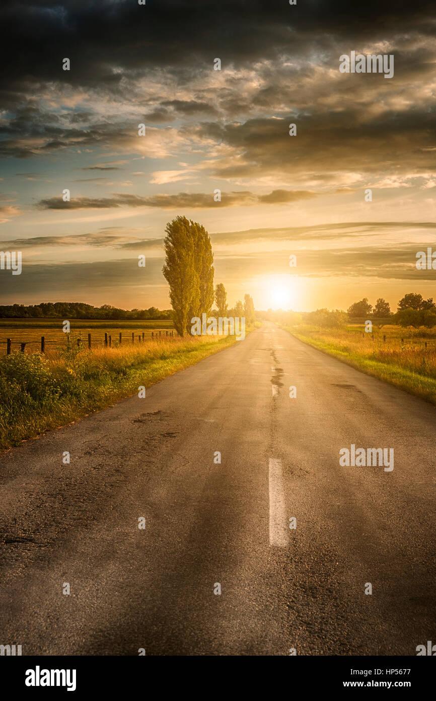 Sommer Straße im Sonnenuntergang Stockbild