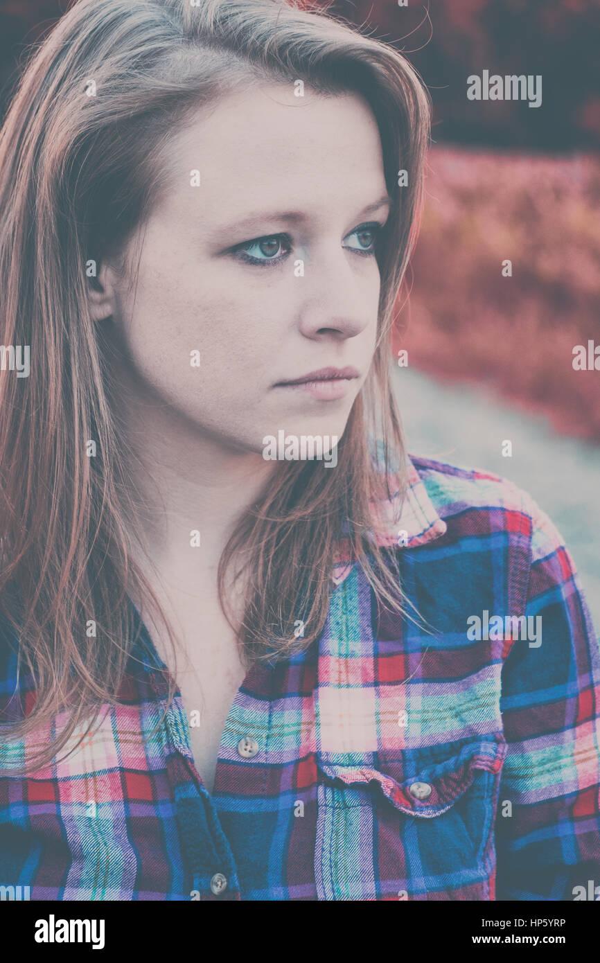 Traurig, deprimiert Frau Konzept Stockbild