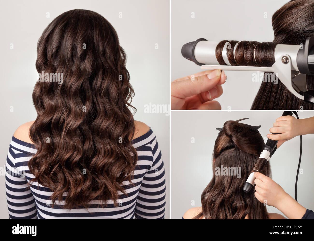 Erstellungsprozess Locken Lange Lockige Haare Frisur Für Lange