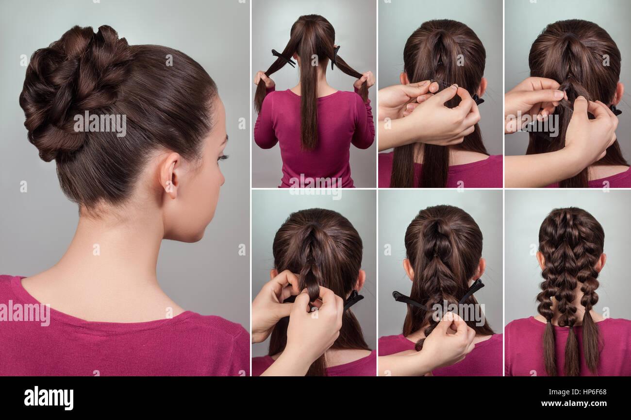 einfache elegante Frisur Tutorial. Hochsteckfrisur für mittlere