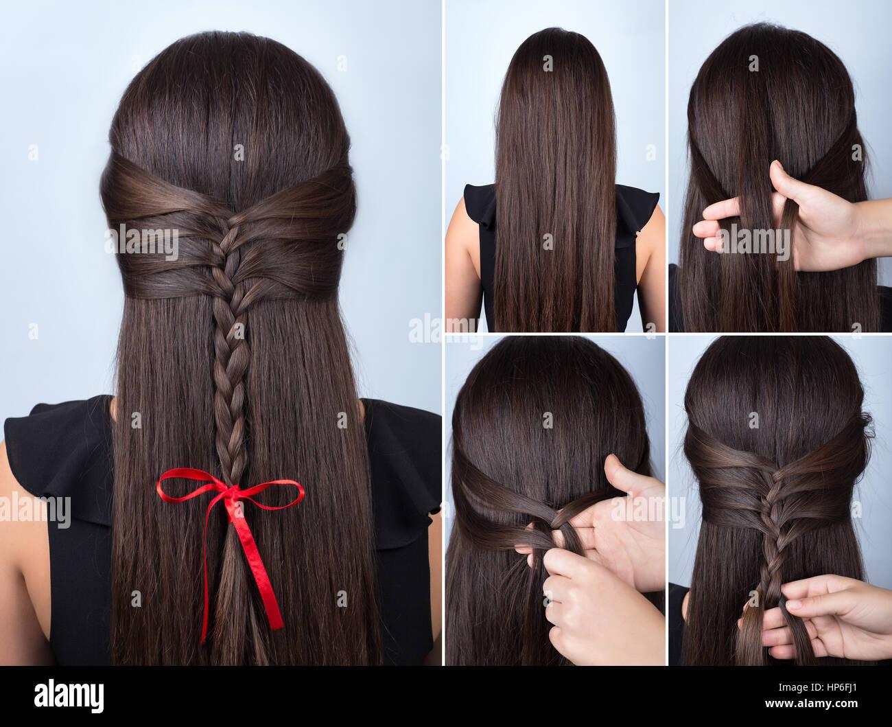 Frisur Fur Lange Haare Einfacher Zopf Frisur Mit Roter Schleife Fur