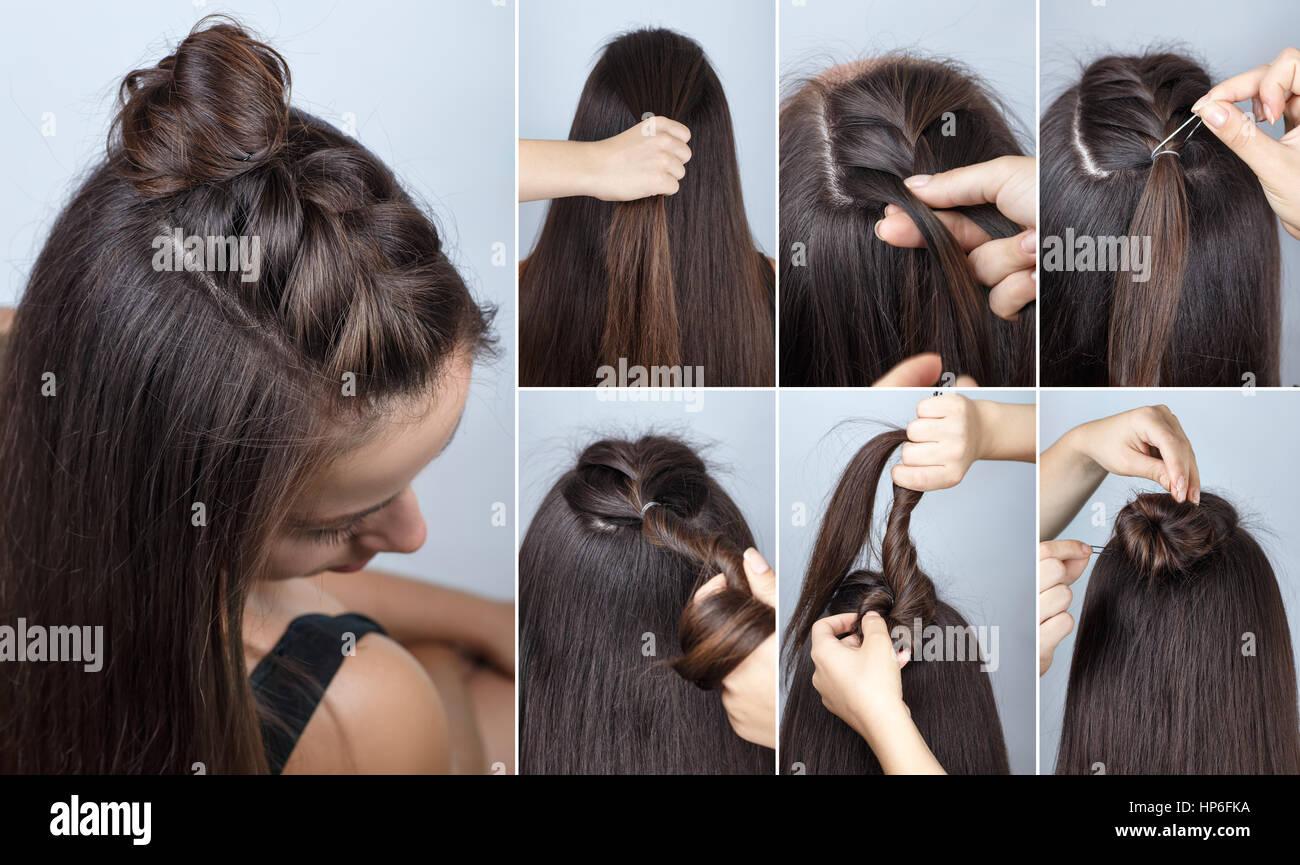Moderne Frisur Verdreht Bun Und Zopf Mit Offenen Haaren Frisur