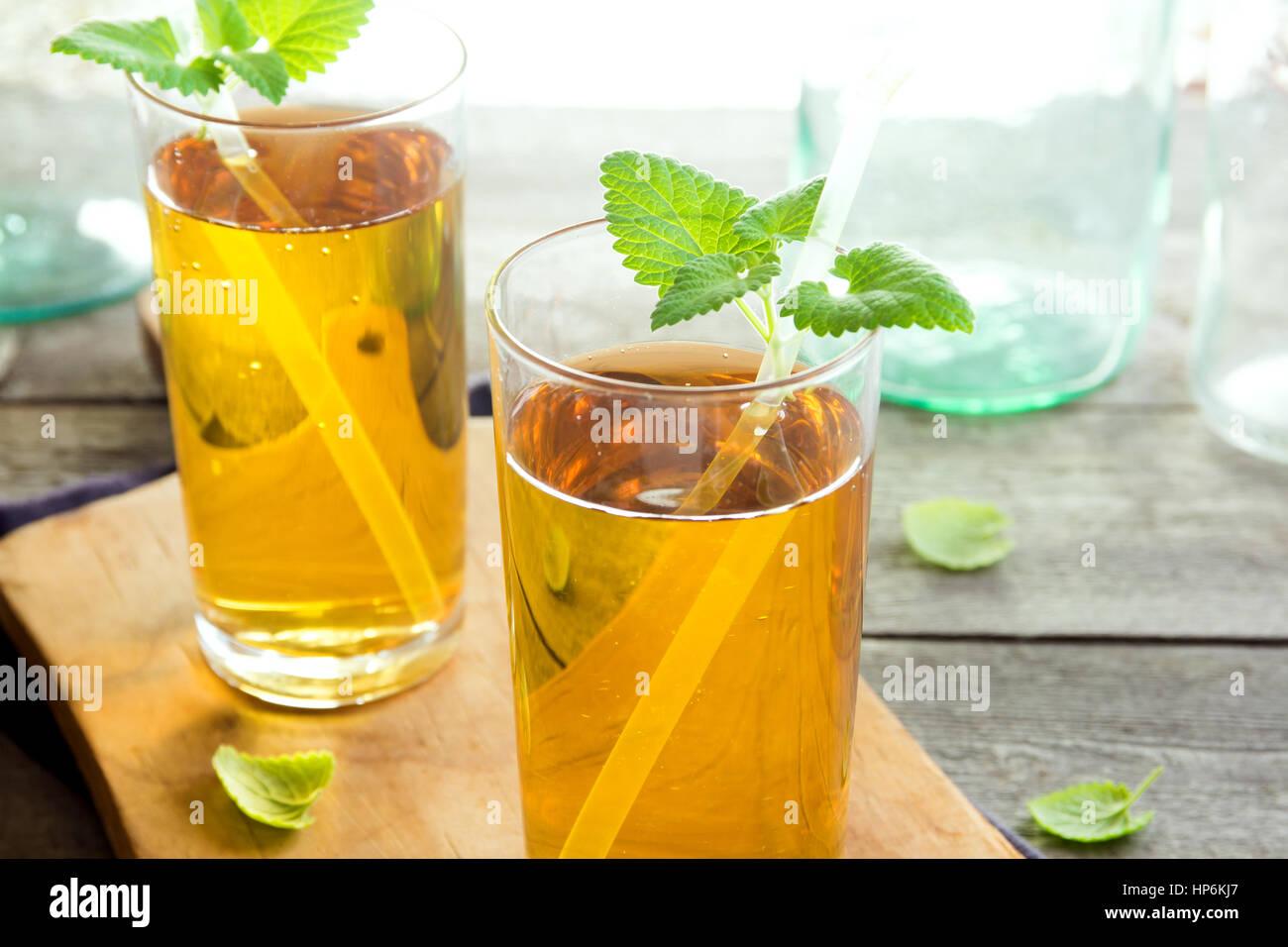 Kombucha Tee super Essen pro biotische Getränke in Gläsern mit Minze ...