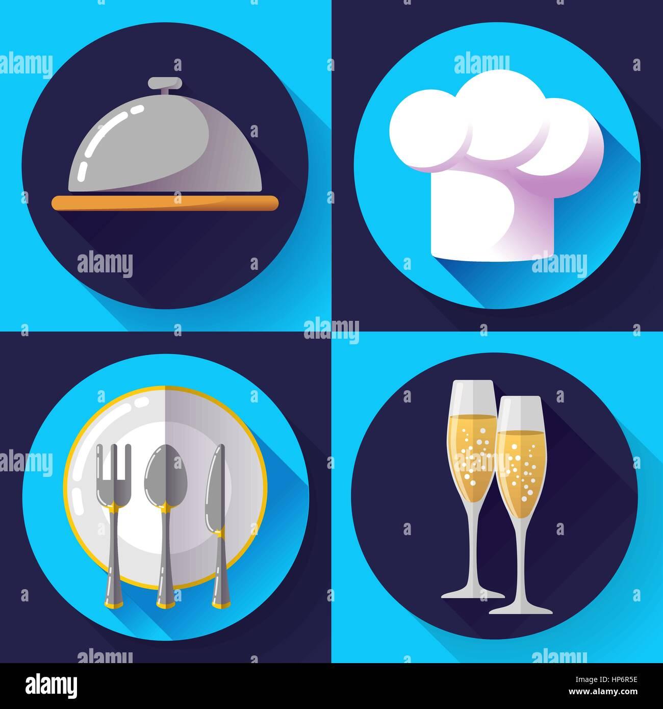 Restaurant Icons Set flach Stil kochen und Küche, servieren von ...