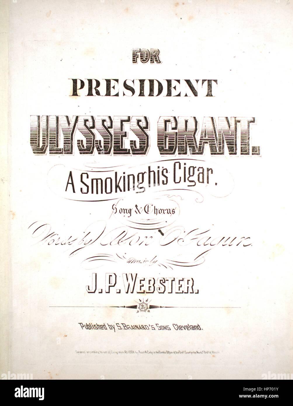 """Titelbild der Noten des Liedes """"Ein Raucher seine Zigarre Lied und Chor"""", mit ursprünglichen Autorschaft Stockbild"""