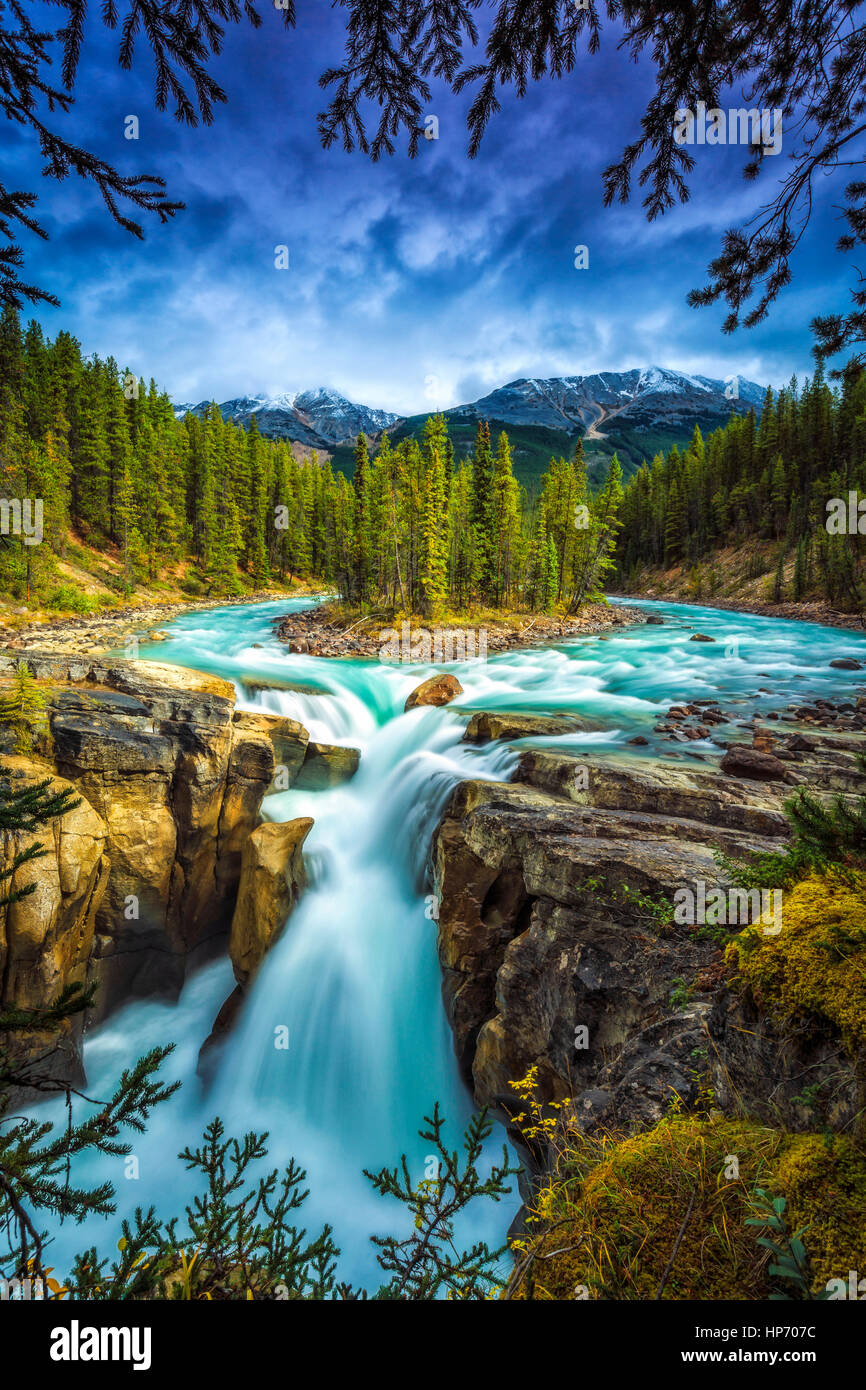 Sunwapta Falls, Alberta, Kanada Stockbild