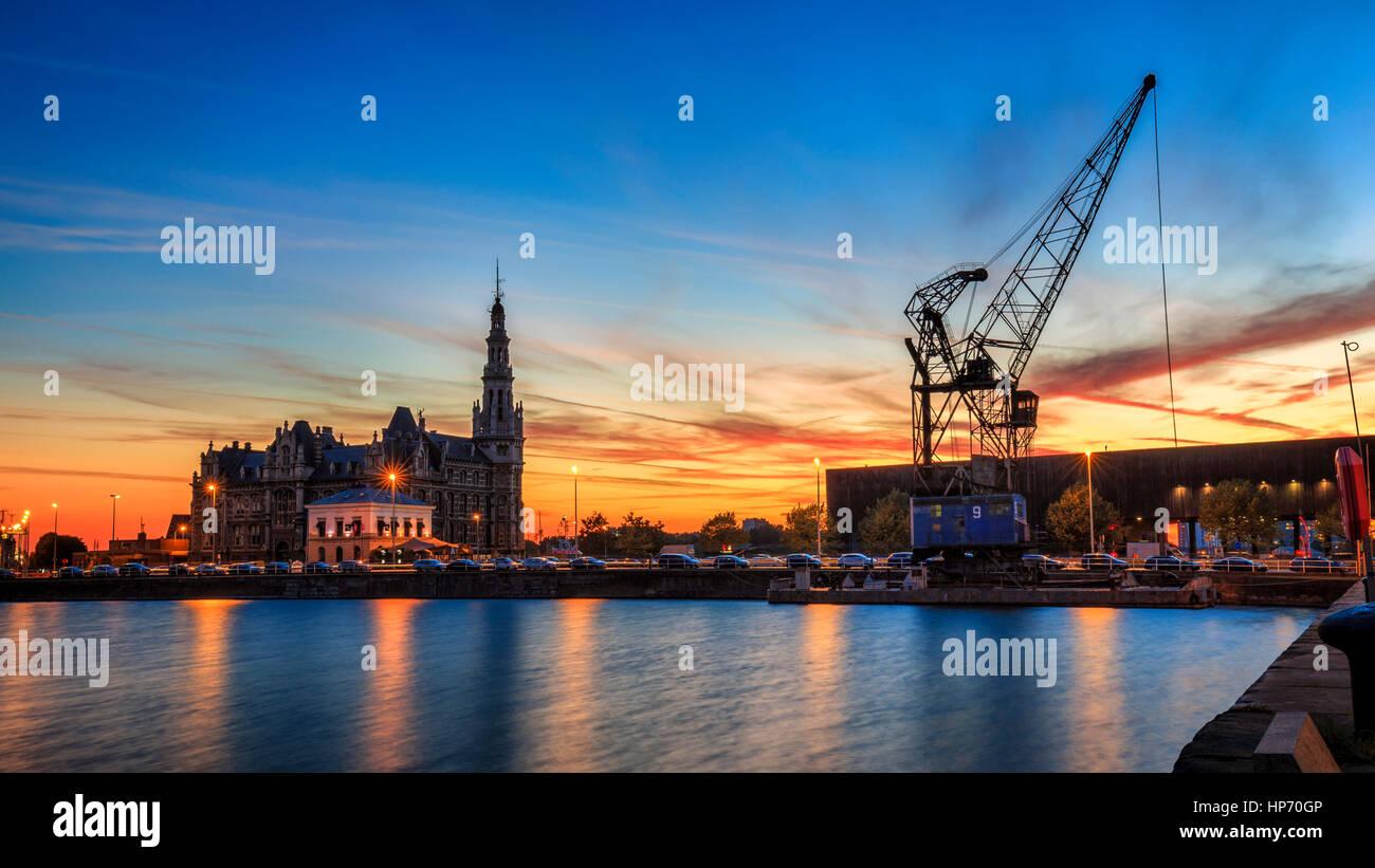 Hafen von Antwerpen, Belgien Stockbild