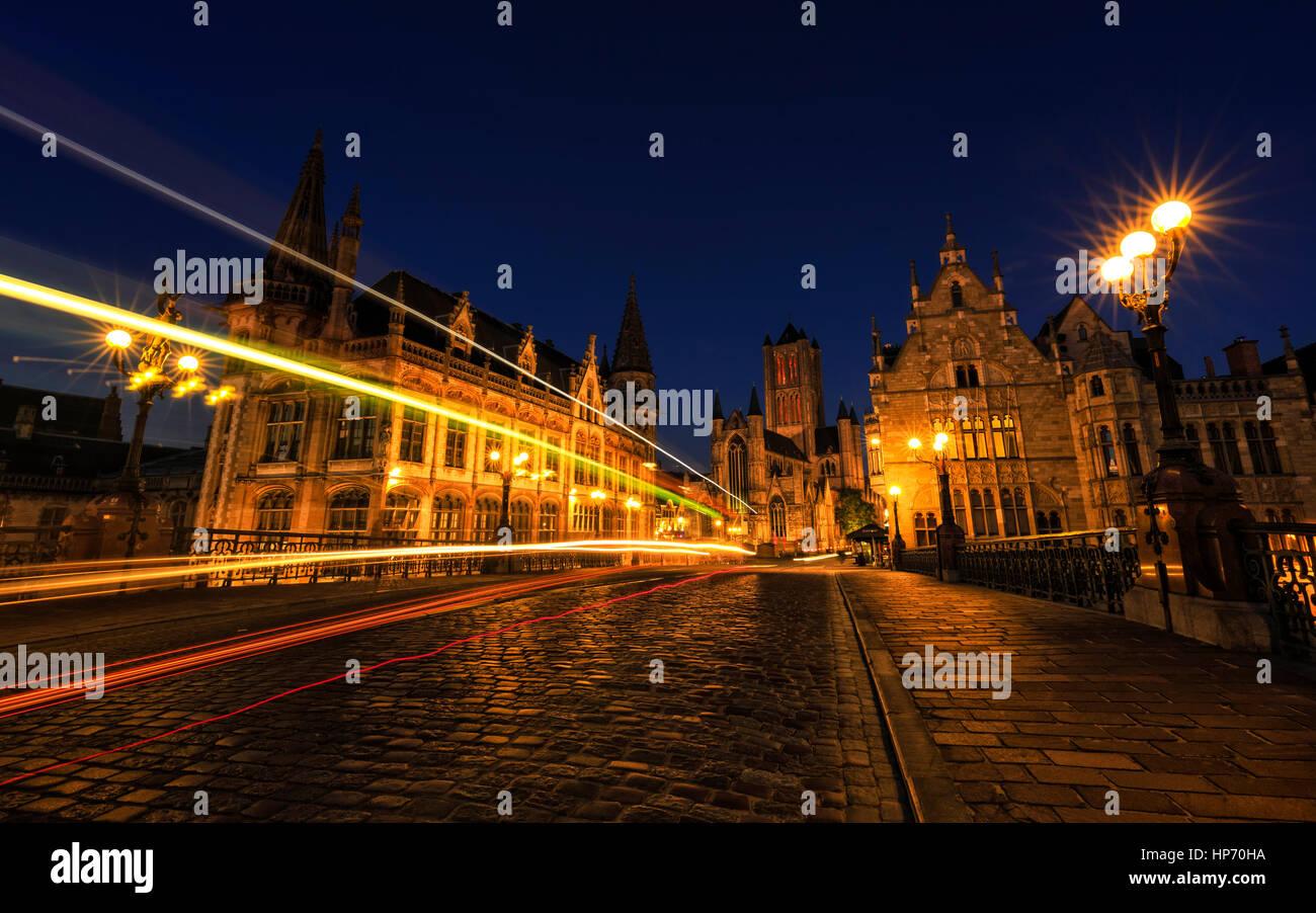 Stadtzentrum von Gent, Belgien Stockbild
