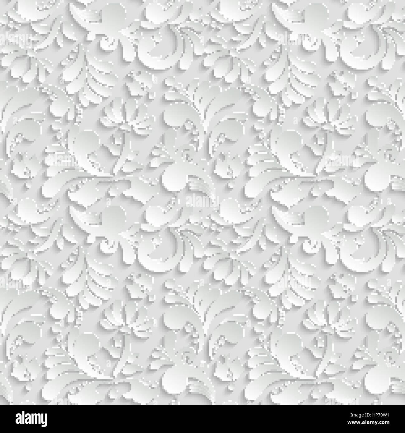 Abstrakte florale 3D-Hintergrund, Vector Seamless Pattern. Trendige ...